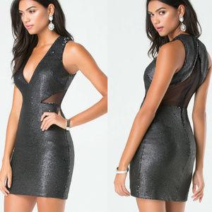 bebe dress black sequin deep v mesh dress 10